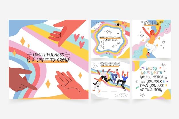 Coleção de postagens do instagram do dia internacional da juventude desenhada à mão