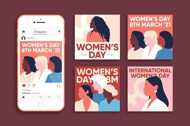 Coleção de postagens do instagram do dia internacional da mulher