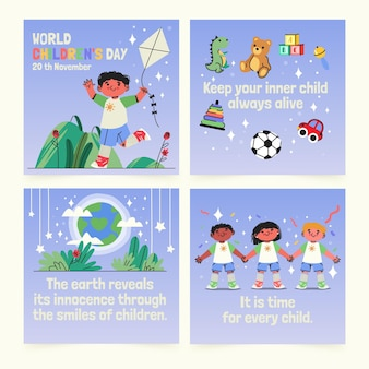 Coleção de postagens do instagram do dia mundial da criança desenhada à mão