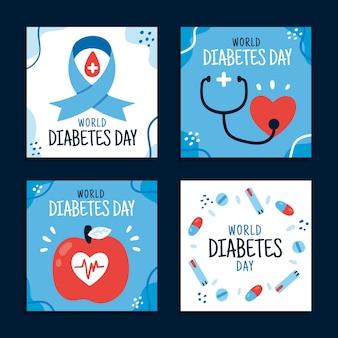 Coleção de postagens do instagram do dia mundial da diabetes desenhada à mão