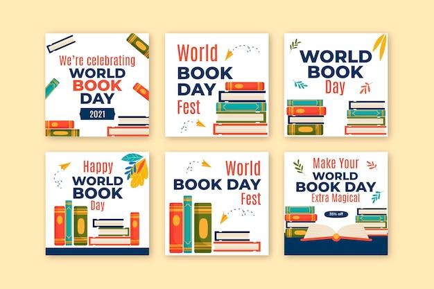 Coleção de postagens do instagram do dia mundial do livro