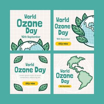 Coleção de postagens do instagram do dia mundial do ozônio desenhada à mão