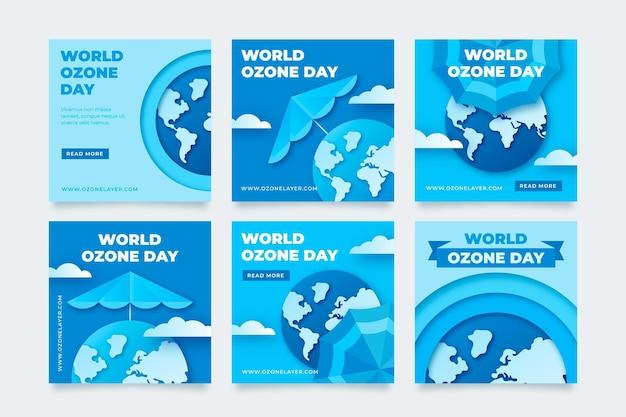 Coleção de postagens do instagram do dia mundial do ozônio em estilo papel