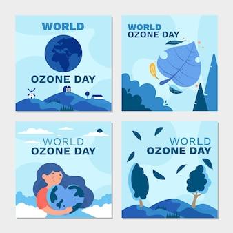 Coleção de postagens do instagram do dia mundial do ozônio plano