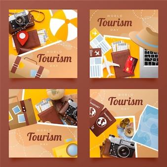 Coleção de postagens do instagram do dia mundial do turismo de gradiente com foto