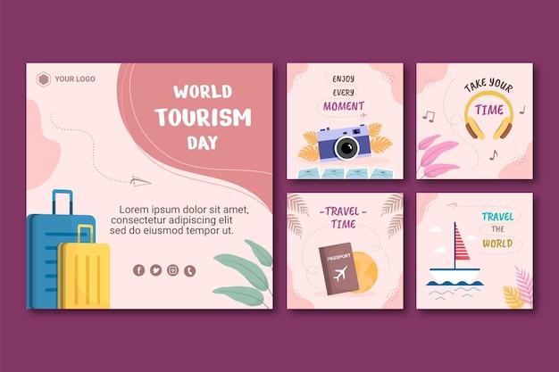 Coleção de postagens do instagram do dia mundial do turismo