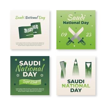 Coleção de postagens do instagram do dia nacional da saudita gradiente