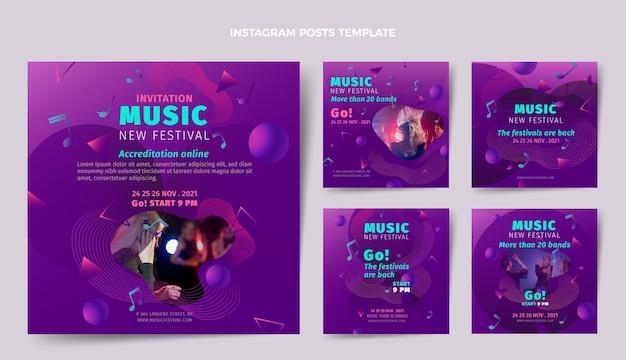 Coleção de postagens do instagram do festival de música colorida gradiente