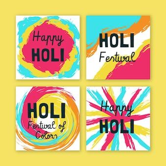 Coleção de postagens do instagram do festival holi desenhadas à mão