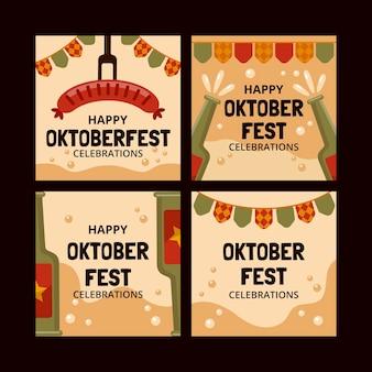 Coleção de postagens do instagram do flat oktoberfest
