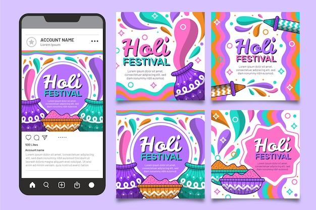 Coleção de postagens do instagram do holi festival