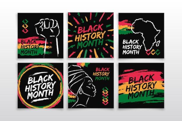 Coleção de postagens do instagram do mês da história do preto desenhada à mão