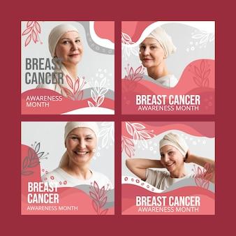 Coleção de postagens do instagram do mês de conscientização do câncer de mama desenhada à mão com foto