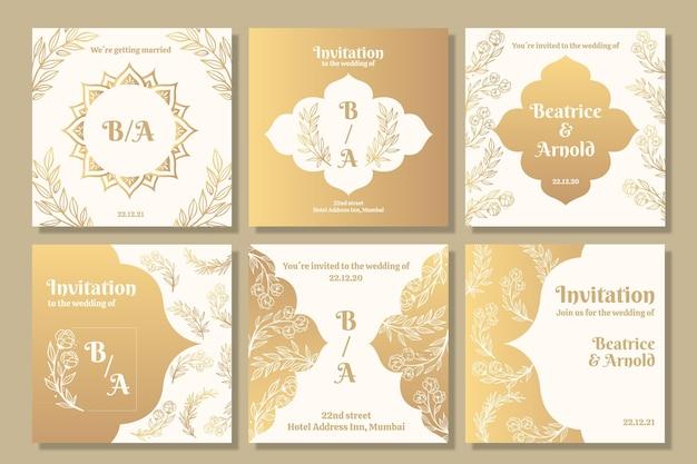Coleção de postagens do instagram dourado para casamento