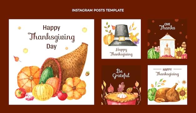 Coleção de postagens do instagram em aquarela de ação de graças