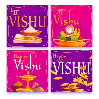 Coleção de postagens do instagram flat vishu