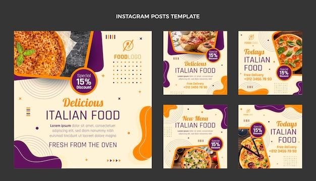 Coleção de postagens do instagram italiano plana