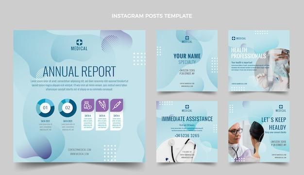 Coleção de postagens do instagram médico de gradiente