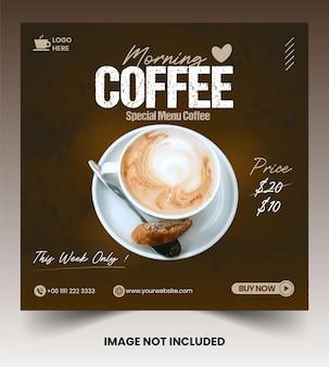 Coleção de postagens do instagram nas redes sociais do café