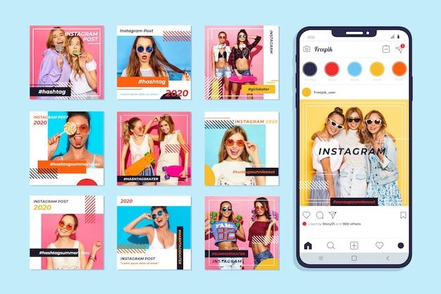 Coleção de postagens do instagram no celular