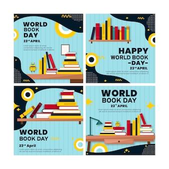 Coleção de postagens do instagram para a celebração do dia mundial do livro