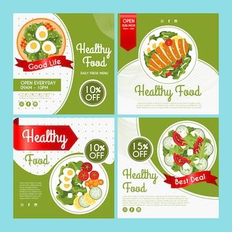 Coleção de postagens do instagram para alimentos saudáveis
