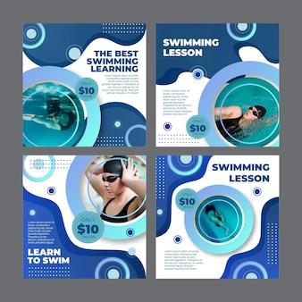 Coleção de postagens do instagram para aulas de natação