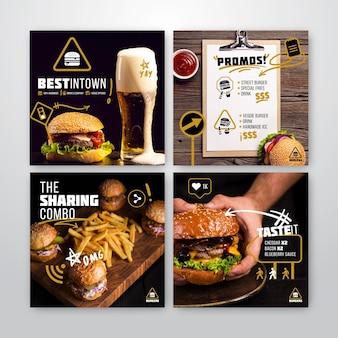 Coleção de postagens do instagram para burger restaurant