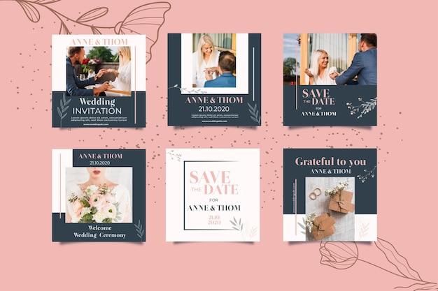Coleção de postagens do instagram para casamento com flores