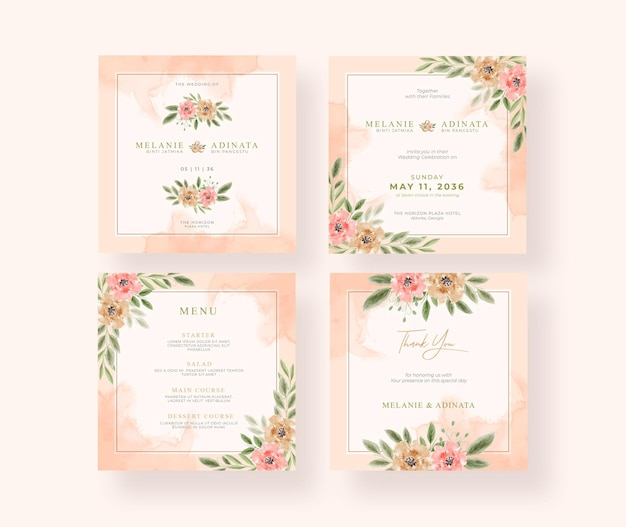 Coleção de postagens do instagram para casamento em aquarela floral linda