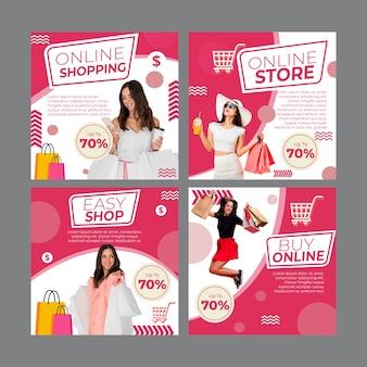 Coleção de postagens do instagram para compras online