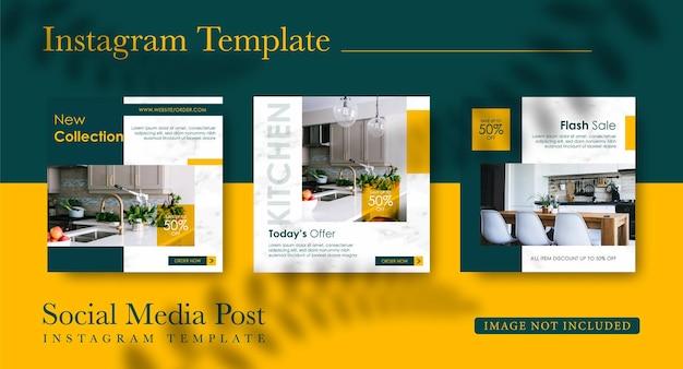 Coleção de postagens do instagram para design de móveis
