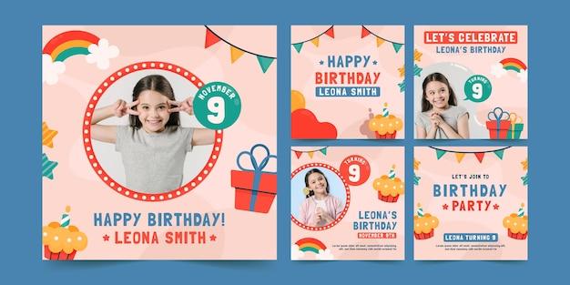 Coleção de postagens do instagram para festa de aniversário