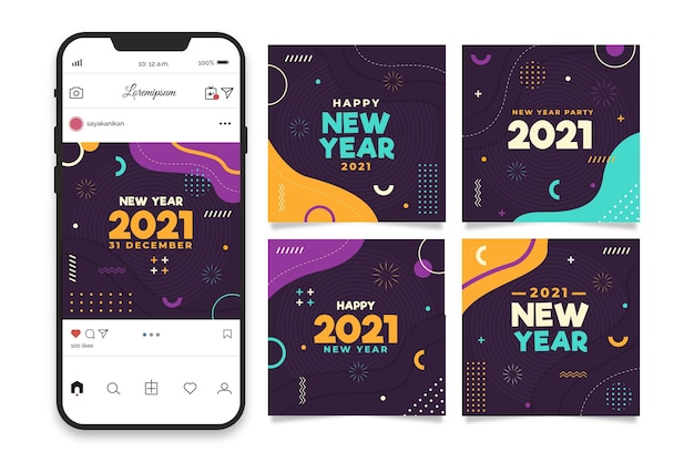 Coleção de postagens do instagram para festa de ano novo de 2021