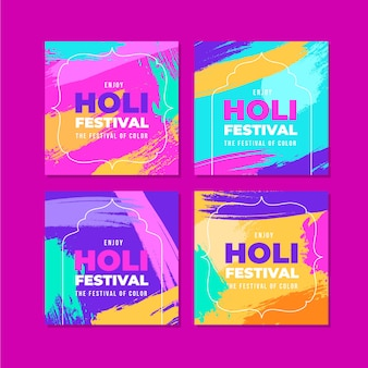 Coleção de postagens do instagram para holi festival