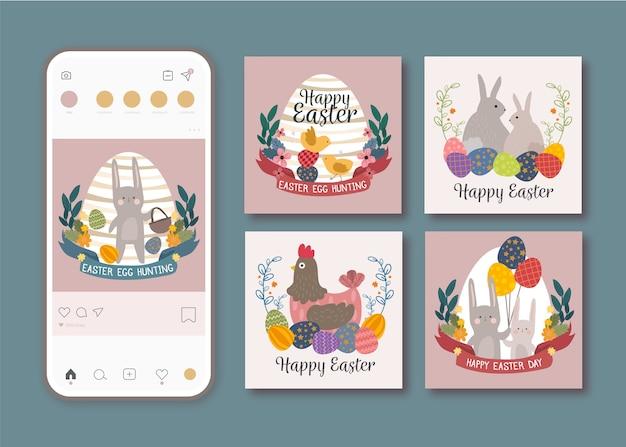 Coleção de postagens do instagram para o dia da páscoa