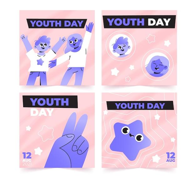 Coleção de postagens do instagram para o dia internacional da juventude