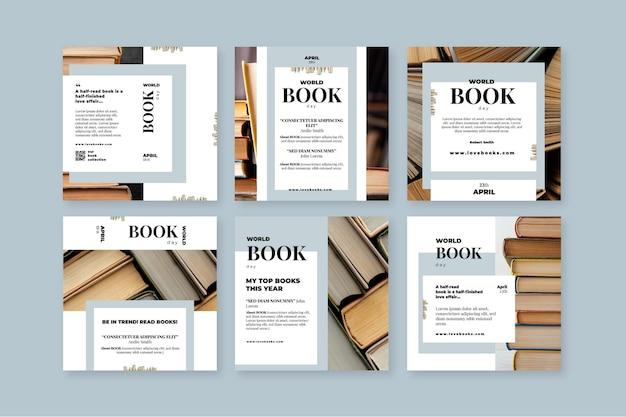 Coleção de postagens do instagram para o dia mundial do livro