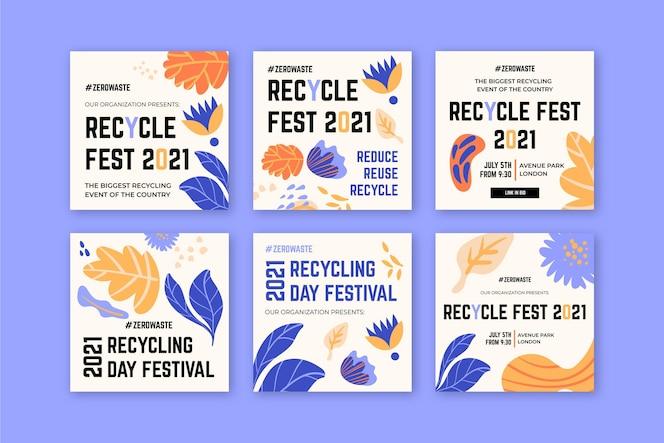 Coleção de postagens do instagram para o festival do dia da reciclagem
