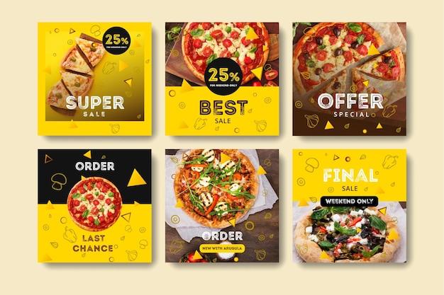 Coleção de postagens do instagram para pizzaria