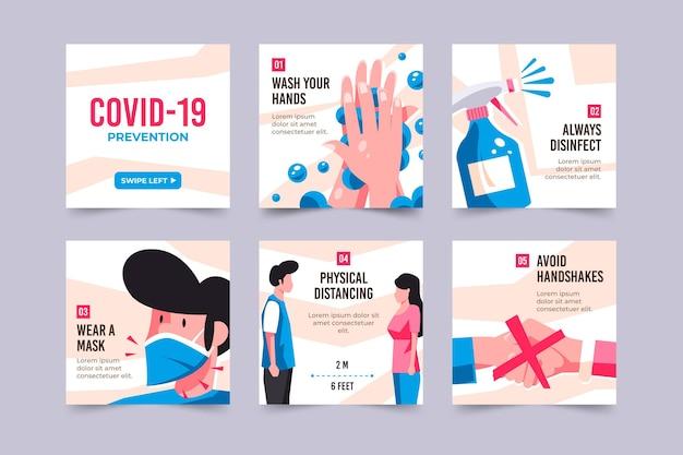 Coleção de postagens do instagram para prevenção de coronavírus