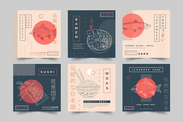 Coleção de postagens do instagram para restaurante de comida japonesa