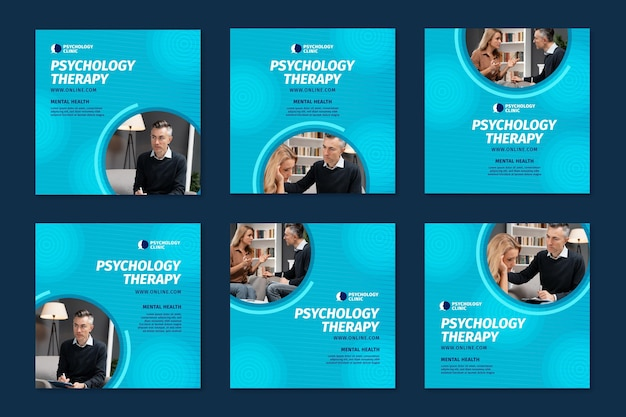 Coleção de postagens do instagram para terapia psicológica