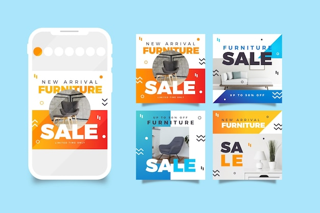 Coleção de postagens do instagram para venda de móveis gradientes