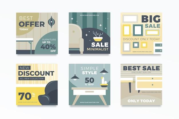 Coleção de postagens do instagram para venda de móveis