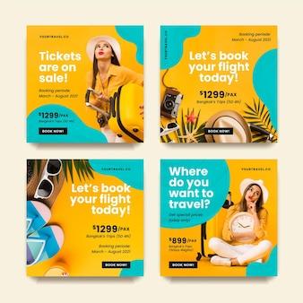 Coleção de postagens do instagram para venda de viagens