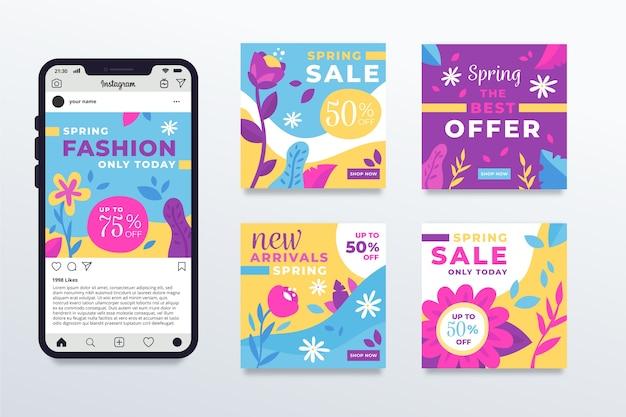 Coleção de postagens do instagram para venda na primavera