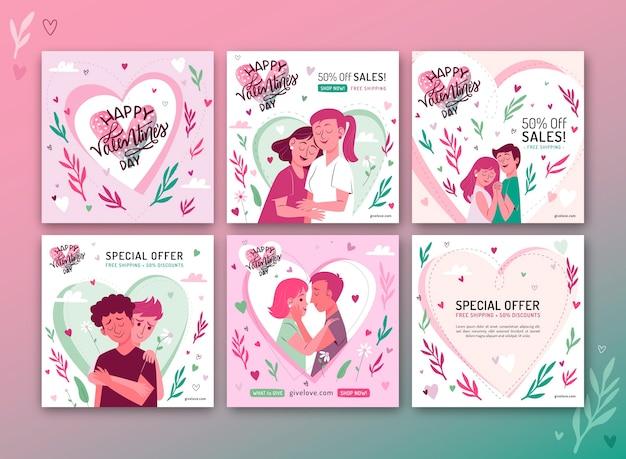 Coleção de postagens do instagram para venda no dia dos namorados