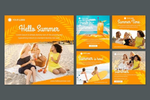 Coleção de postagens do instagram plano de verão com foto