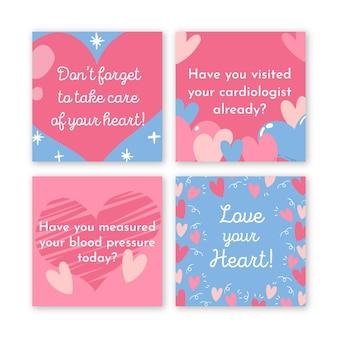 Coleção de postagens do instagram sobre saúde cardíaca